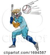 Poster, Art Print Of Wildcat Baseball Player Mascot Swinging Bat