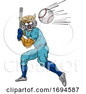 Wildcat Baseball Player Mascot Swinging Bat by AtStockIllustration