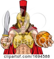 Poster, Art Print Of Spartan Trojan Gladiator Basketball Warrior Woman