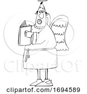 Cartoon Male Angel Holding A Book