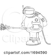 Cartoon Chubby Astronaut Spraying Stars With A Pressure Washer