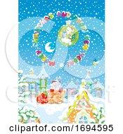 Poster, Art Print Of Santa Going Down A Chimney