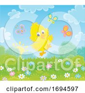 Poster, Art Print Of Spring Chick With Butterflies