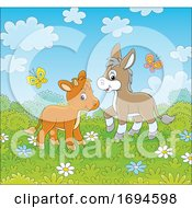 Poster, Art Print Of Cute Calf And Donkey