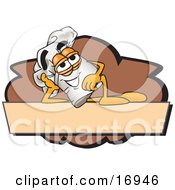 Clipart Picture Of A Chefs Hat Mascot Cartoon Character Resting Over A Blank Brown Label