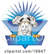 Clipart Picture Of A Chefs Hat Mascot Cartoon Character Over A Blank Blue Label by Toons4Biz