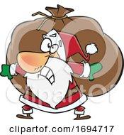 Poster, Art Print Of Cartoon Christmas Santa Carrying A Heavy Sack