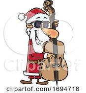 Poster, Art Print Of Cartoon Christmas Santa Playing A Bass