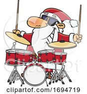 Cartoon Christmas Santa Playing Drums