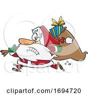 Poster, Art Print Of Cartoon Christmas Santa Rushing