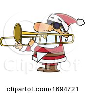 Poster, Art Print Of Cartoon Christmas Santa Playing A Trombone