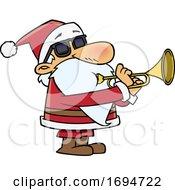 Poster, Art Print Of Cartoon Christmas Santa Playing A Trumpet