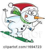 Cartoon Skiing Snowman