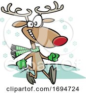 Cartoon Jolly Reindeer Taking A Stroll