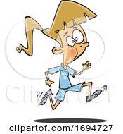 Poster, Art Print Of Cartoon Girl Running In Physical Education Class