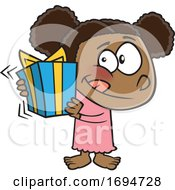 Cartoon Girl Shaking A Gift