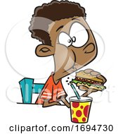 Cartoon Boy Eating A Burger