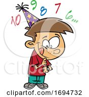 Cartoon Boy Counting Down To New Year