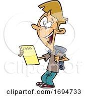 Cartoon School Boy With Good Grades