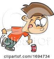 Cartoon Boy Kicking The Can