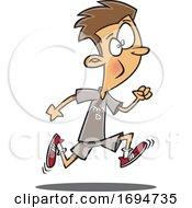 Poster, Art Print Of Cartoon Boy Running In Physical Education Class