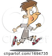 Cartoon Boy Running In Physical Education Class