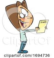 Cartoon Woman Holding A Report Card
