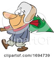 Cartoon Man Carrying A Fresh Cut Christmas Tree