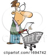 Cartoon Man Reading A Shopping List