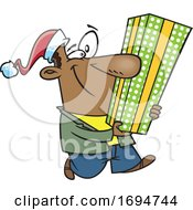 Cartoon Festive Man Carrying A Tall Christmas Gift