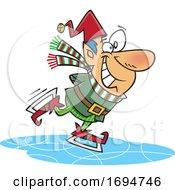Cartoon Christmas Elf Ice Skating