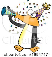 Cartoon Party Penguin Blowing A Horn