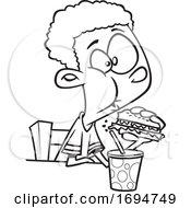 Cartoon Black And White Boy Eating A Burger