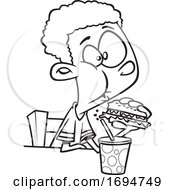 Poster, Art Print Of Cartoon Outline Boy Eating A Burger