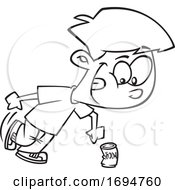 Cartoon Black And White Boy Kicking The Can