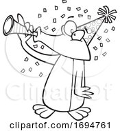 Cartoon Black And White Party Penguin Blowing A Horn