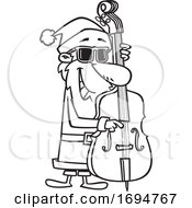Cartoon Black And White Christmas Santa Playing A Bass