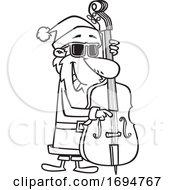 Poster, Art Print Of Cartoon Outline Christmas Santa Playing A Bass