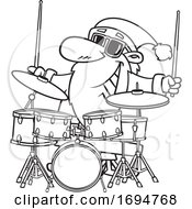 Cartoon Black And White Christmas Santa Playing Drums