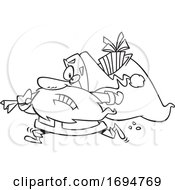 Cartoon Black And White Christmas Santa Rushing