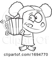 Cartoon Black And White Girl Shaking A Gift
