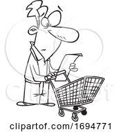Poster, Art Print Of Cartoon Outline Man Reading A Shopping List