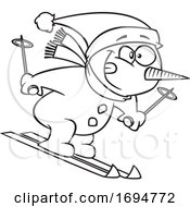 Cartoon Black And White Skiing Snowman