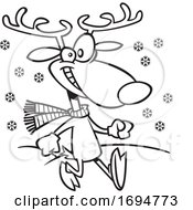Cartoon Black And White Jolly Reindeer Taking A Stroll