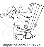 Cartoon Black And White Festive Man Carrying A Tall Christmas Gift