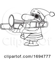 Cartoon Black And White Christmas Santa Playing A Trombone