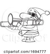 Poster, Art Print Of Cartoon Outline Christmas Santa Playing A Trombone
