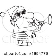 Cartoon Black And White Christmas Santa Playing A Trumpet