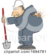 Poster, Art Print Of Cartoon Male Worker With Back Pain From Digging