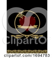 Red Heart And Banner On Vintage Black And Gold Background